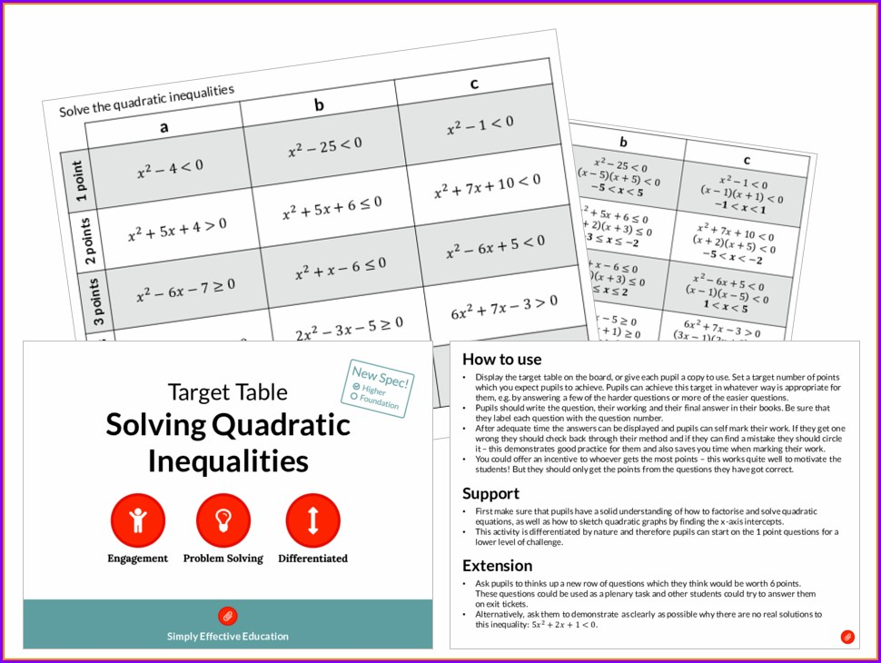 Solving Inequalities Worksheet Differentiated