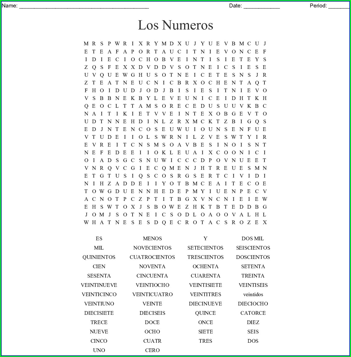 Spanish Numbers 0 20 Worksheets