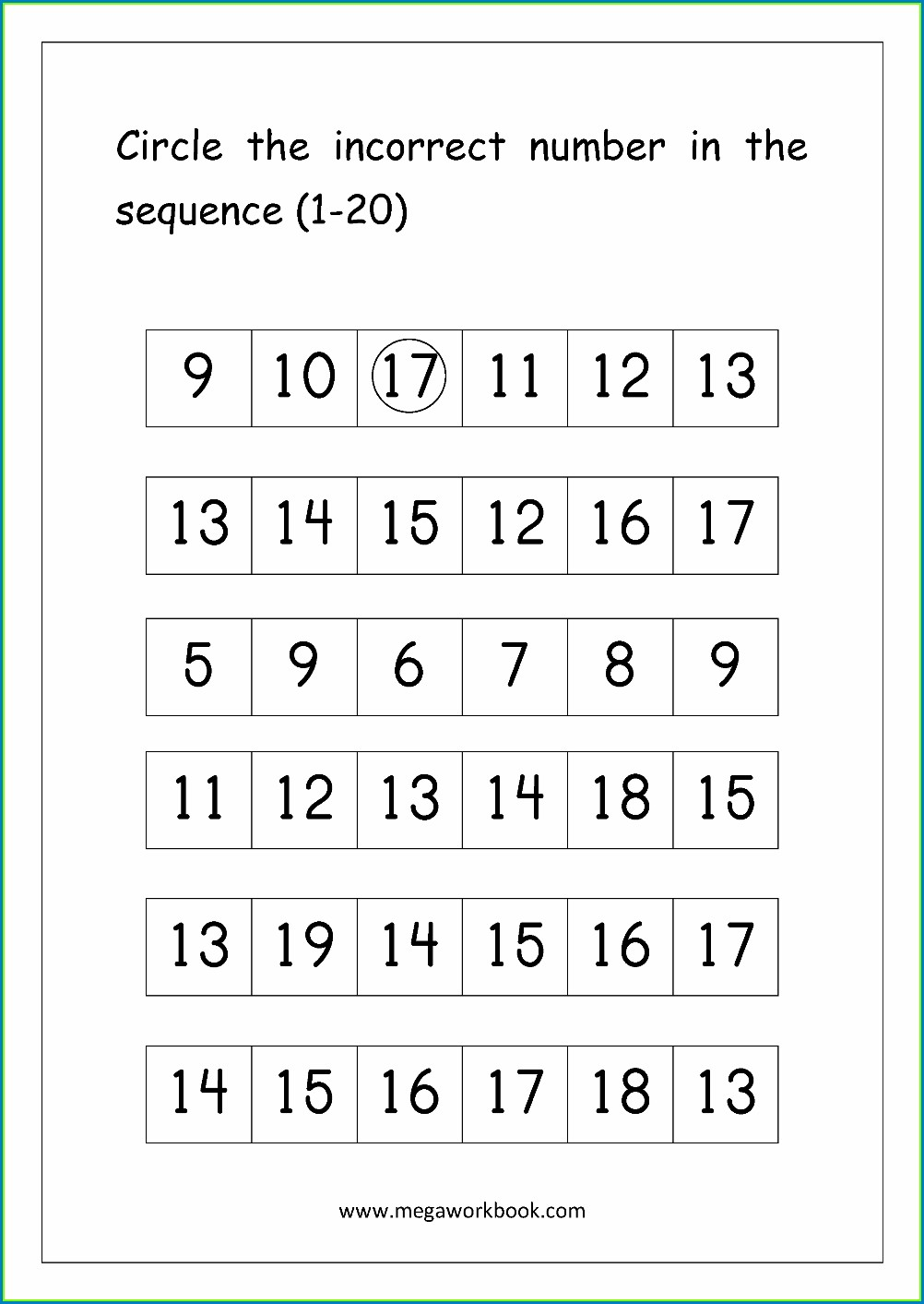Spelling Numbers 1 To 20 Worksheet