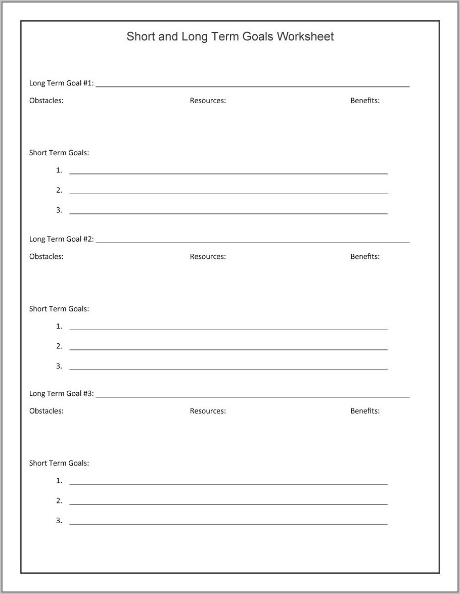 Spreadsheet Goal Setting Template Excel
