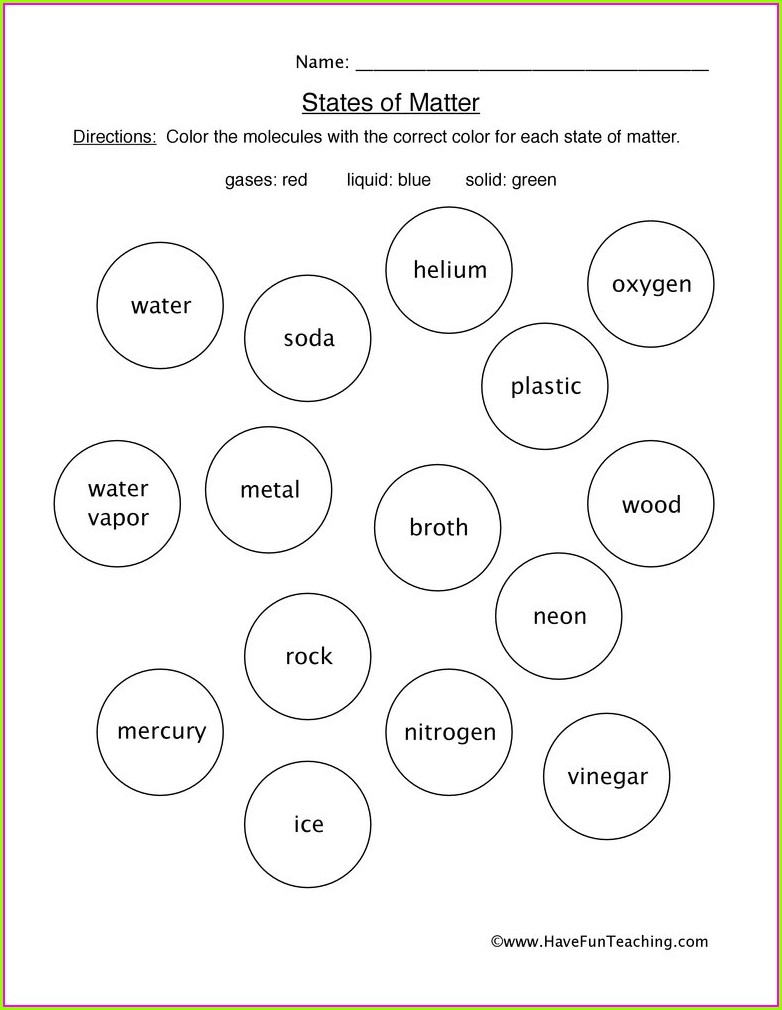 State Of Matter Worksheet For Grade 3