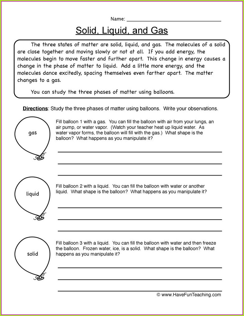 State Of Matter Worksheet For Grade 5