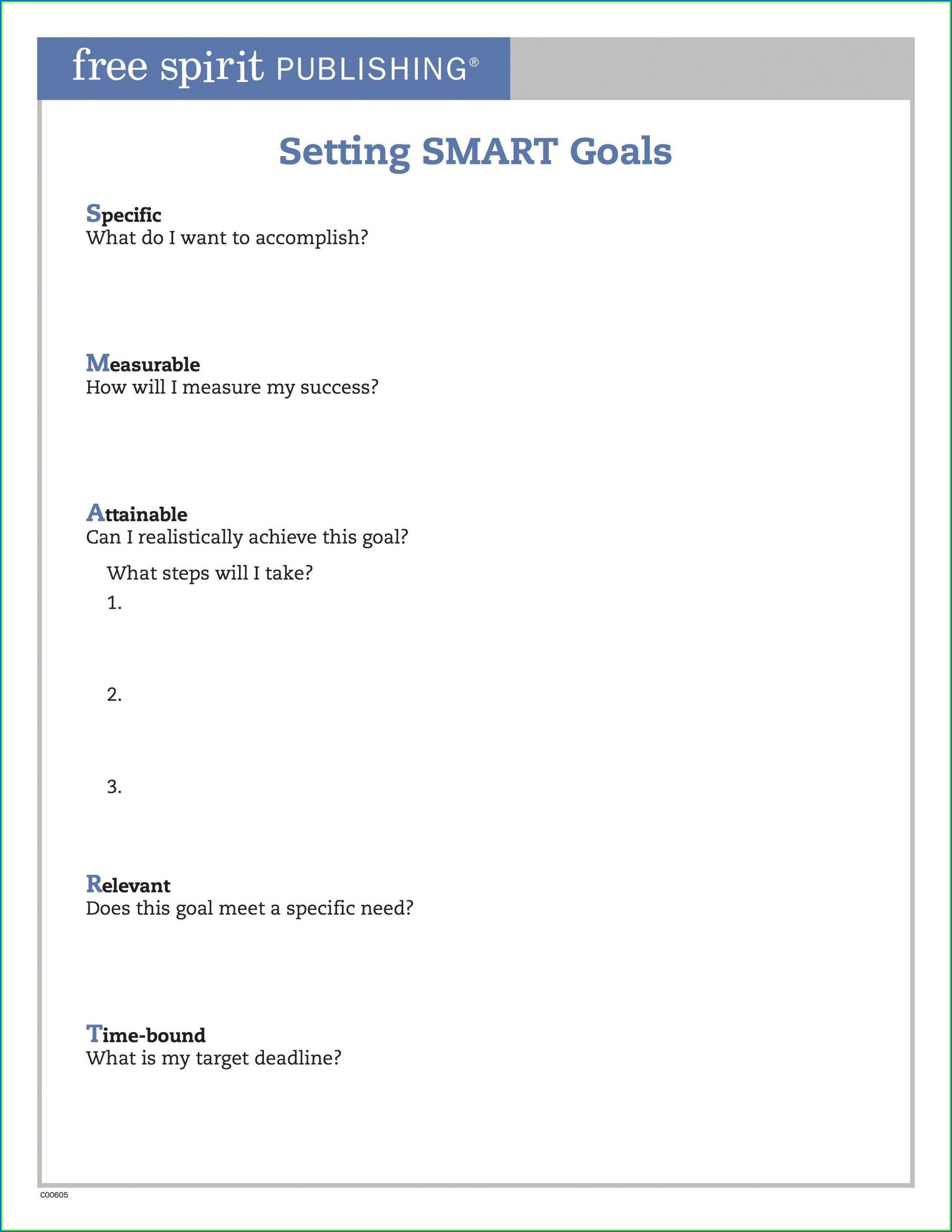 Student Smart Goals Worksheet Pdf