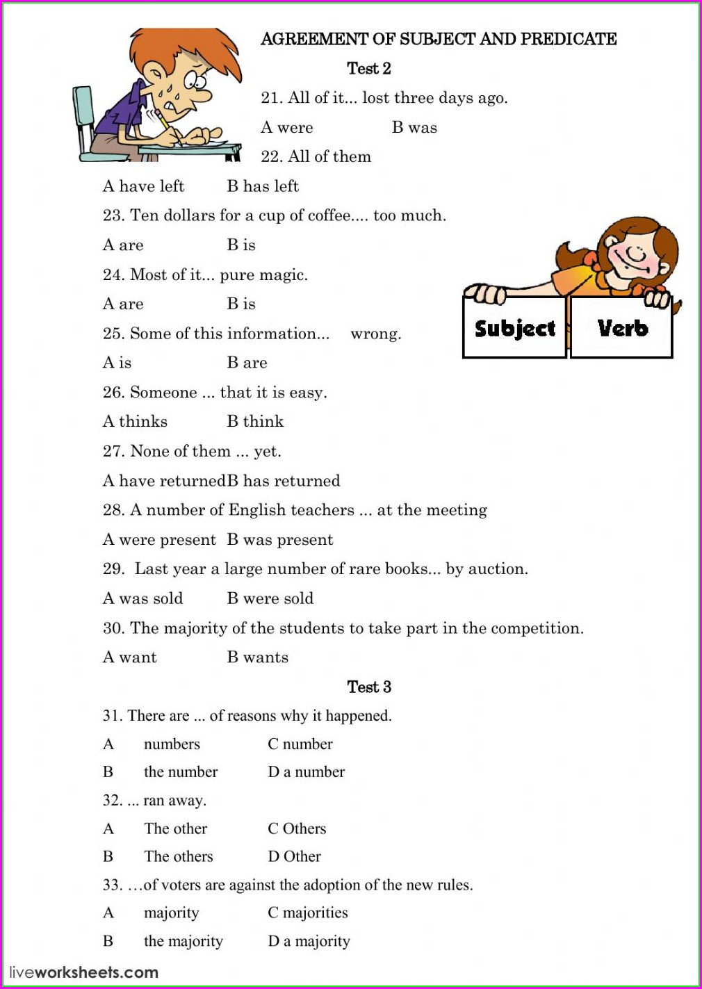 Subject Verb Agreement Exercises Intermediate Level