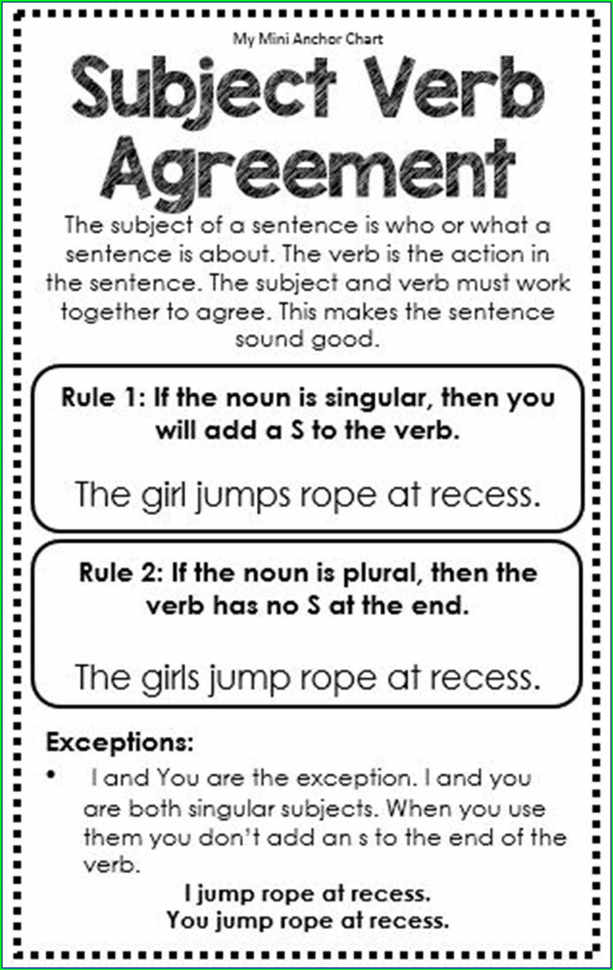 Subject Verb Agreement Identification Quiz