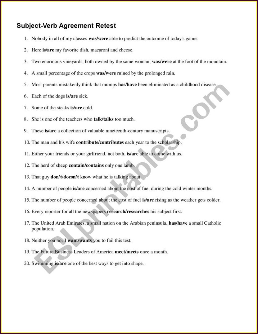 Subject Verb Agreement Quiz With Answer Keys Pdf