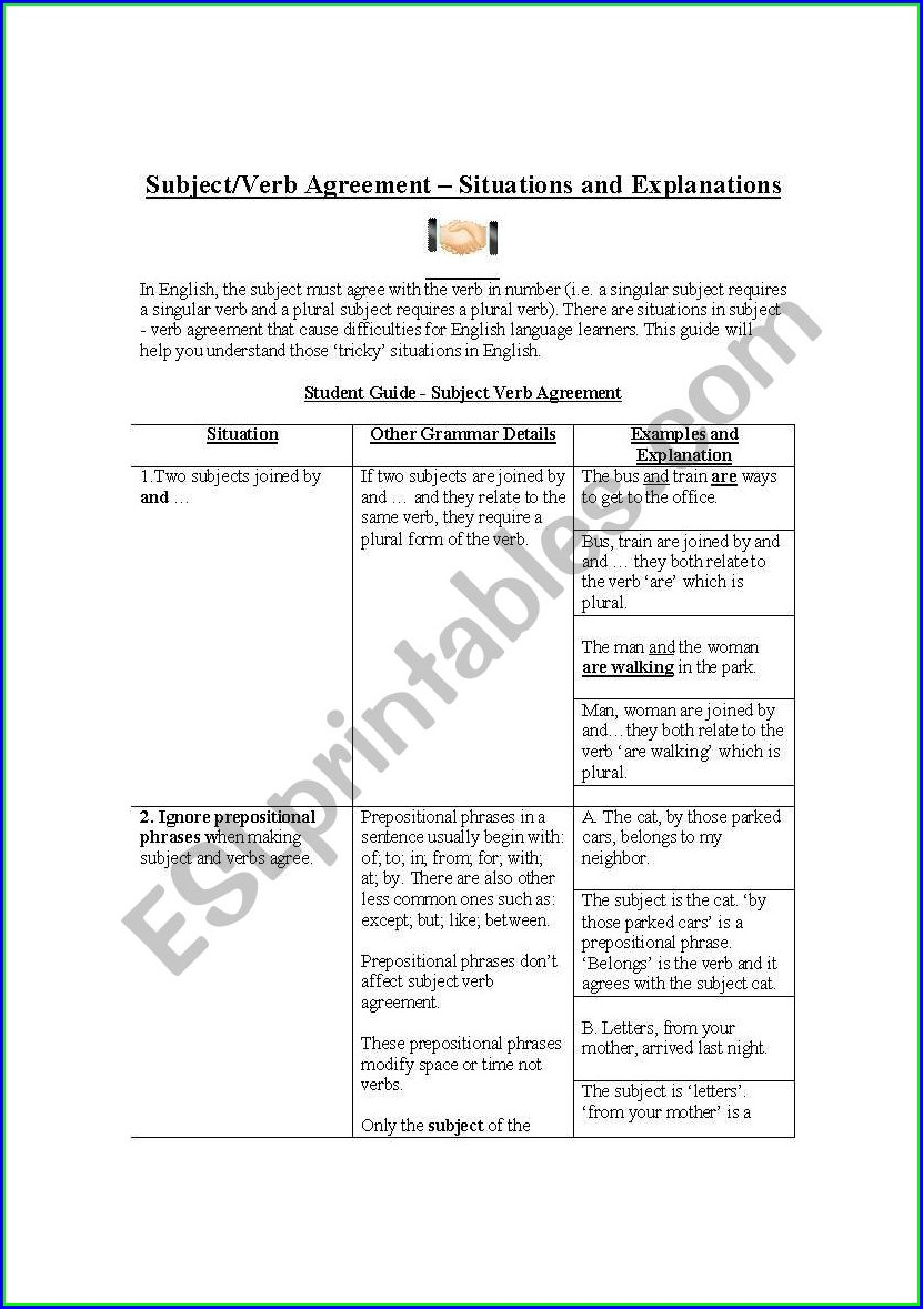 Subject Verb Agreement Worksheet And Answer Key