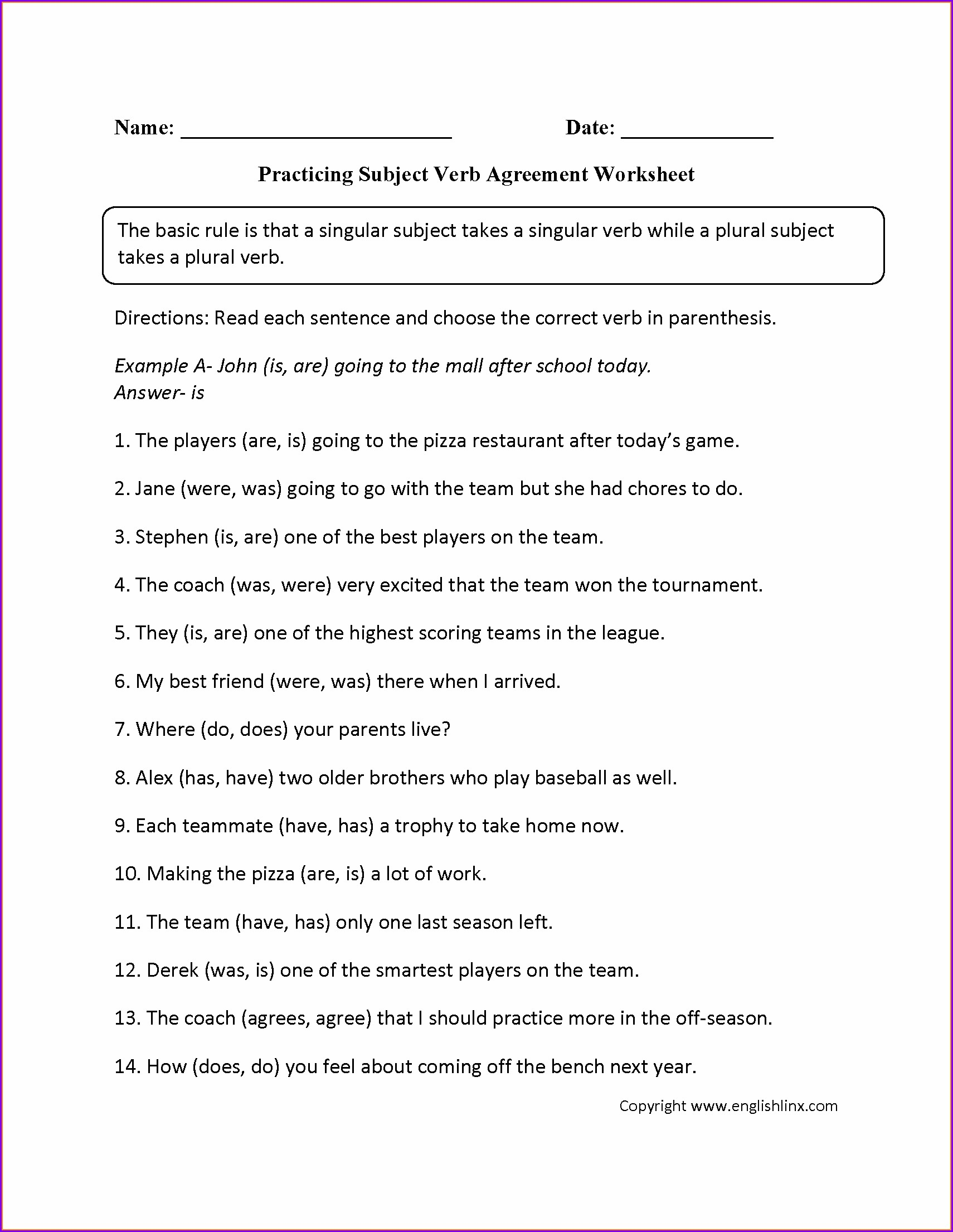 Subject Verb Agreement Worksheet For 1st Grade