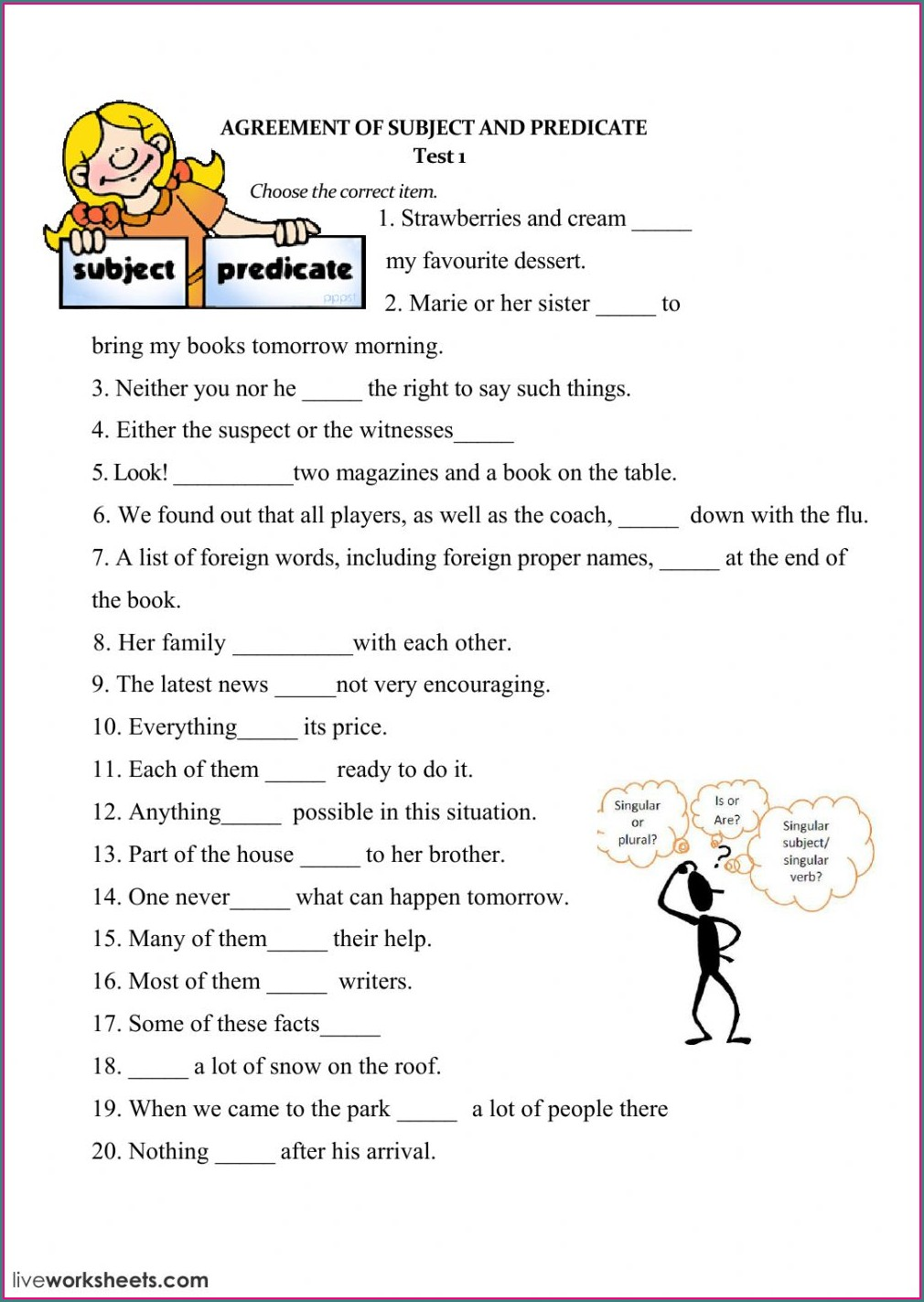 Subject Verb Agreement Worksheet For Grade 6