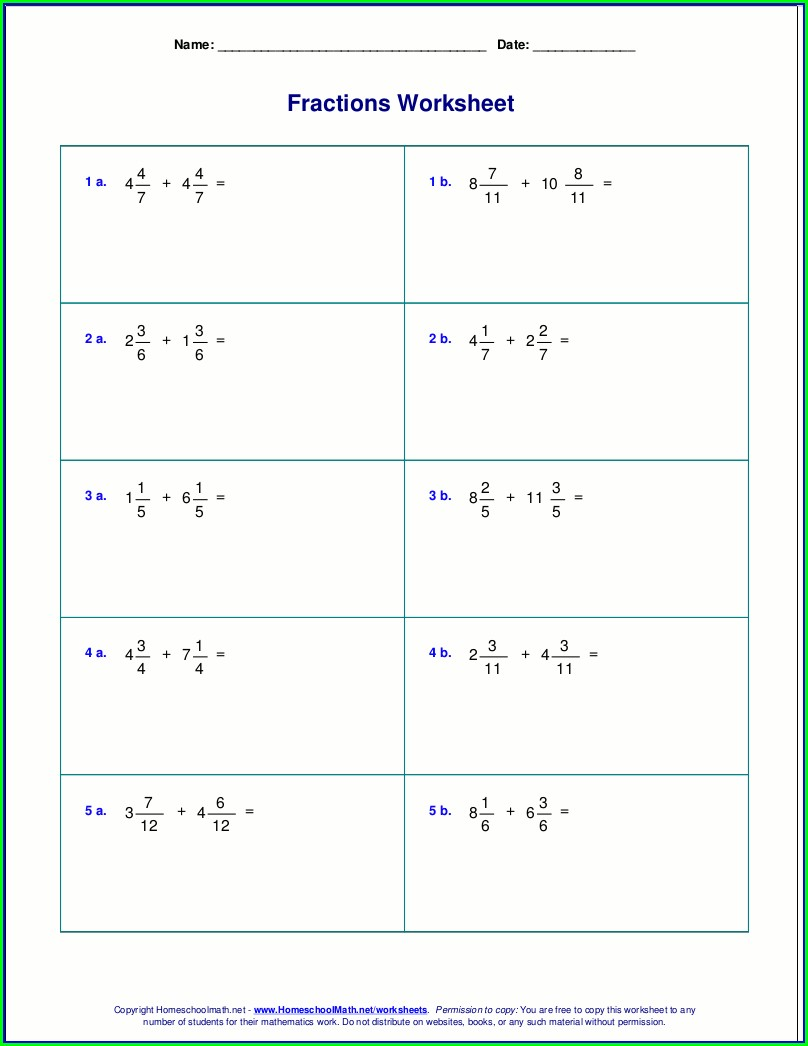 Subtracting Mixed Numbers With Unlike Denominators Worksheet With Answers