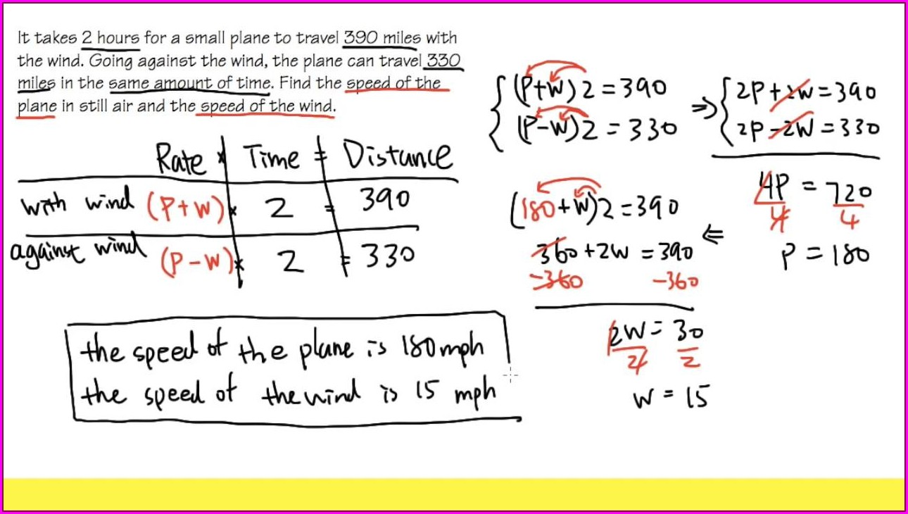 Systems Of Equations Word Problems Wind Speed