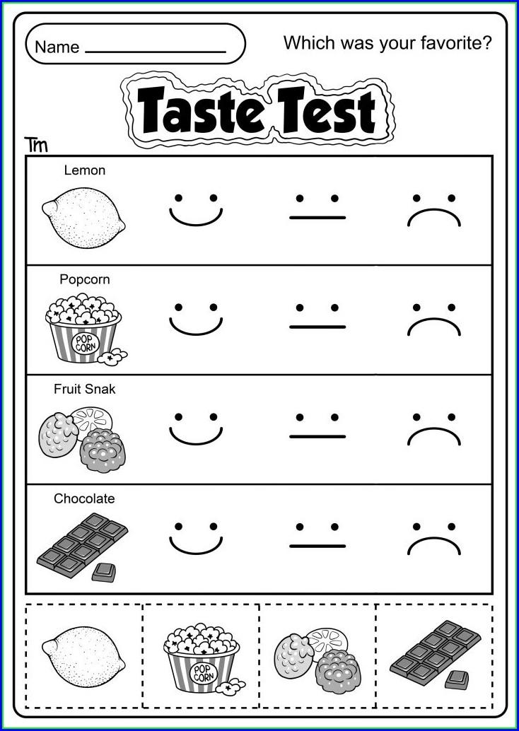 Taste Of Food Worksheet For Kindergarten
