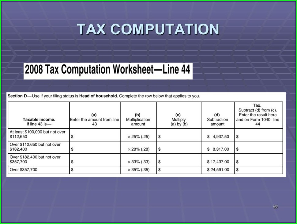 Tax Computation Worksheet Subtraction Amount