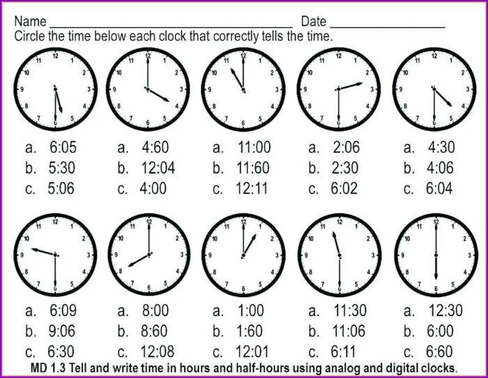 Telling Time Analog Clock Worksheets