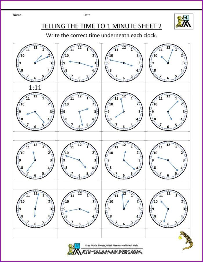 Telling Time Clock Worksheets Free