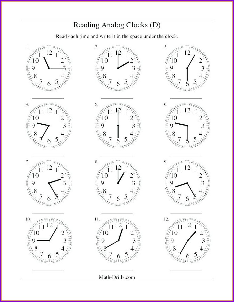 Telling Time Digital Clock Worksheets