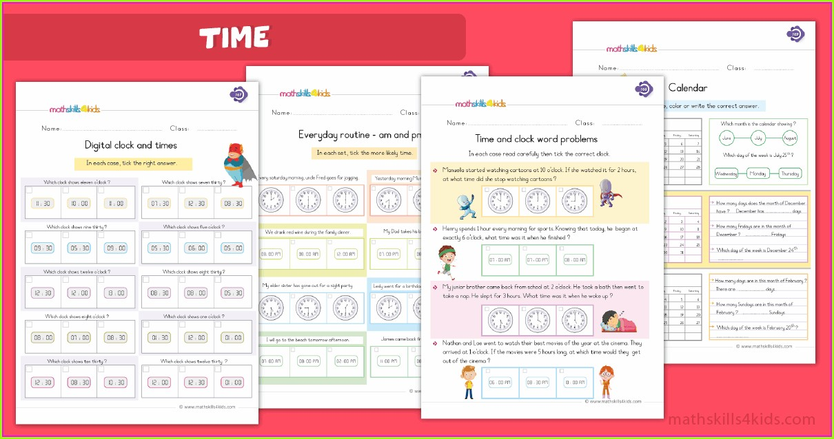 Telling Time Word Problems Worksheets