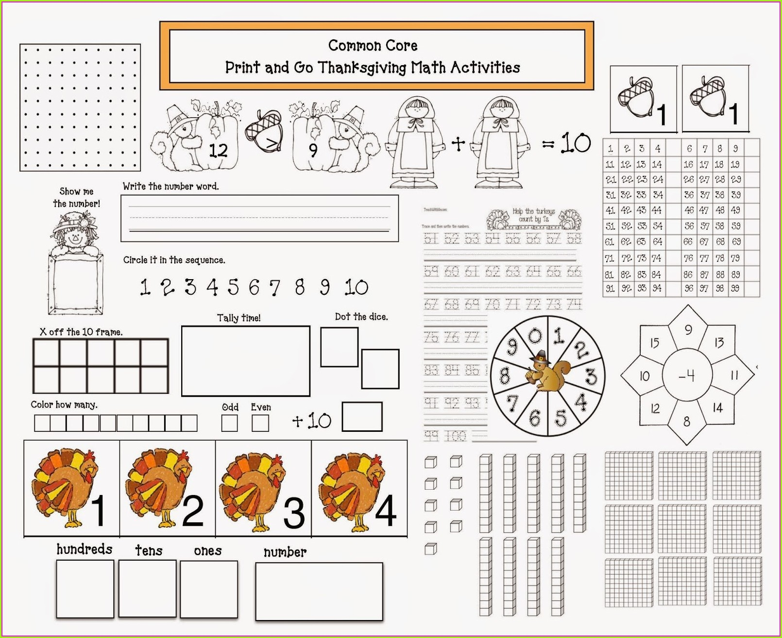 Thanksgiving Math Printables Middle School