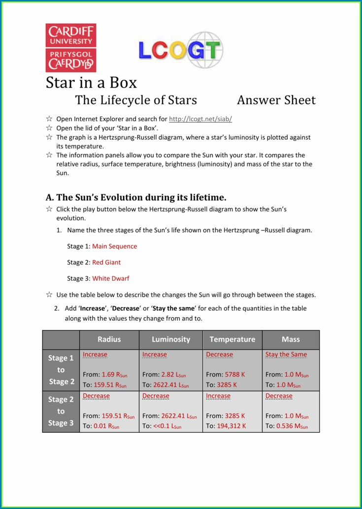 The Star Cycle Student Worksheet Answer Key