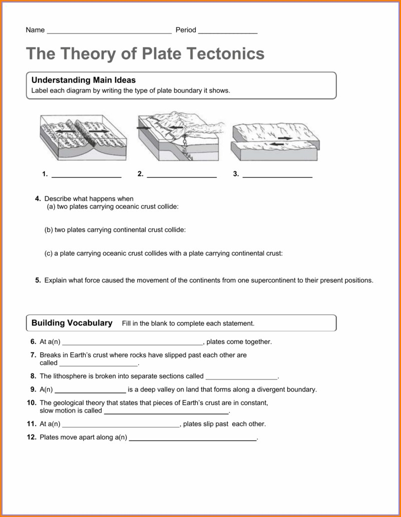 Theory Of Plate Tectonics Worksheet Answer Key