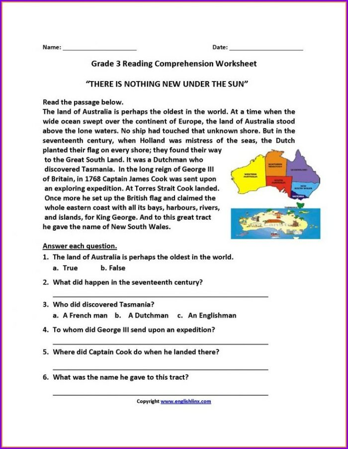 Third Grade 3rd Grade Reading Comprehension Worksheets Multiple Choice