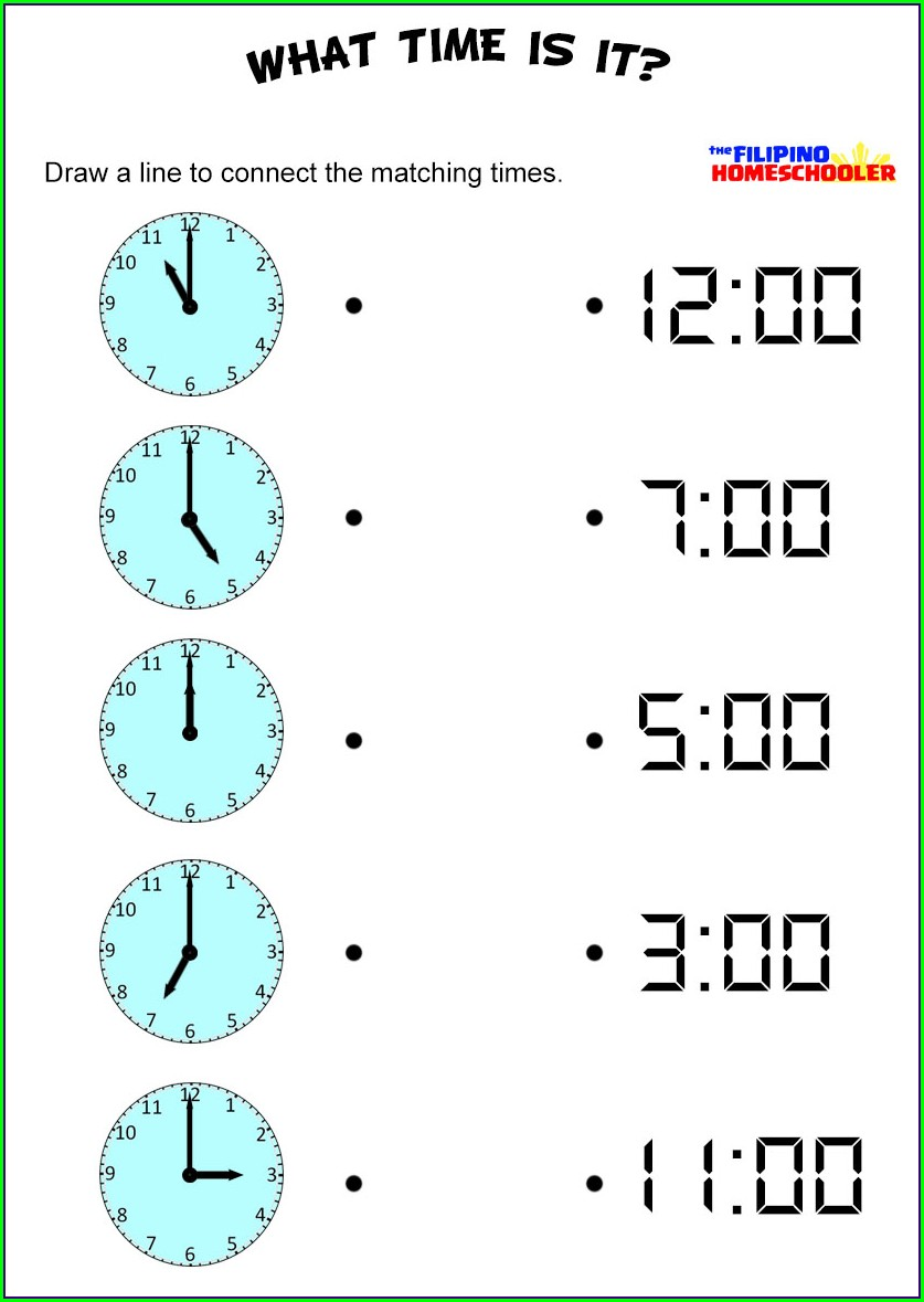 Time On The Hour Worksheets