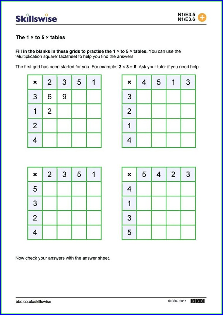 Time Table Worksheets Grade 3