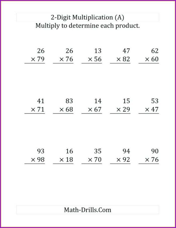 Times 2 Multiplication Practice Worksheets