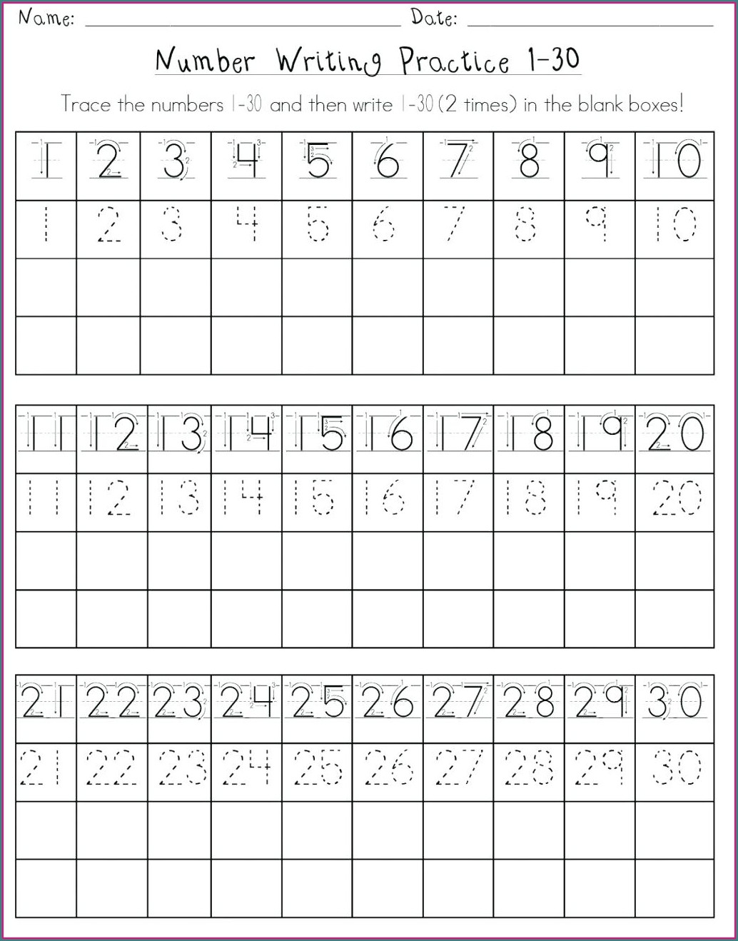 Tracing Worksheet Numbers 1 20