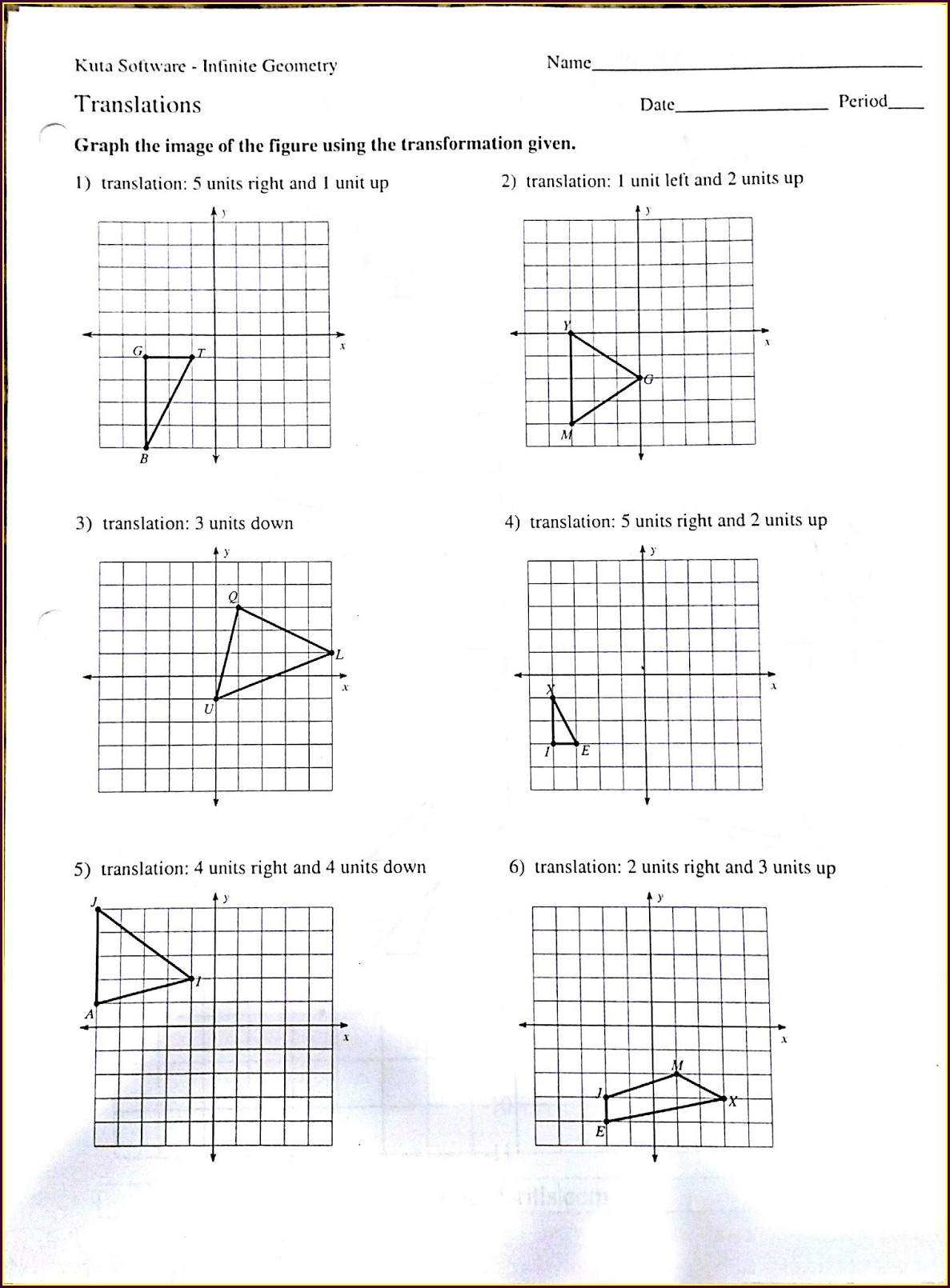 Transformation Review Worksheet 8th Grade Answer Key