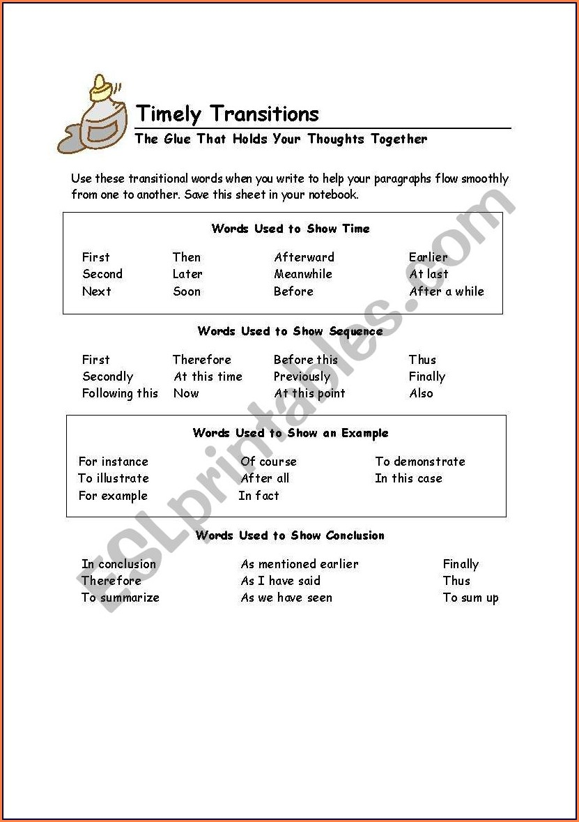 Transition Words Worksheets For Esl