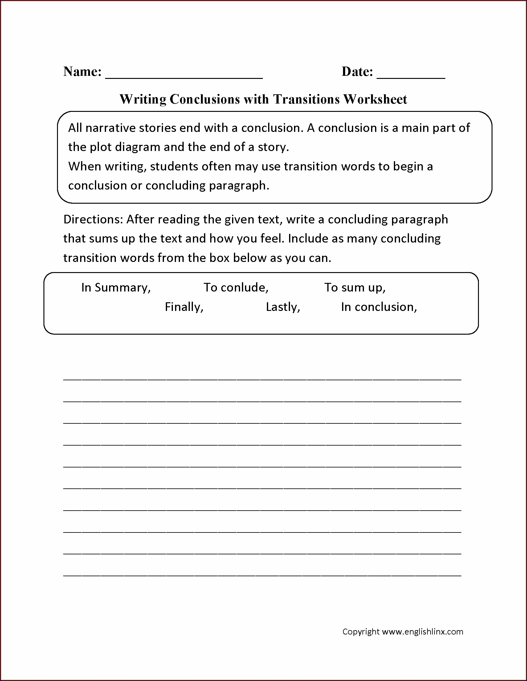 Transitional Words Worksheet 5th Grade
