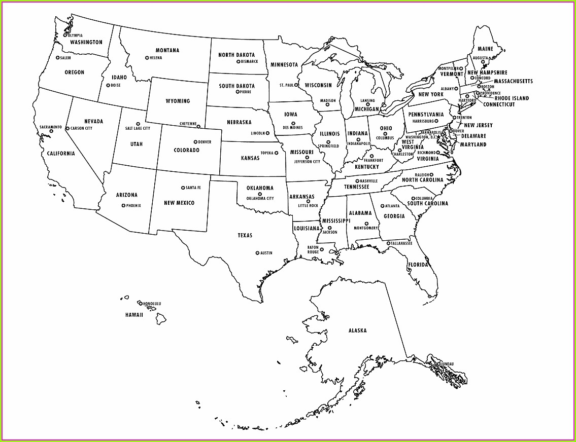 United States Map Printable With Capitals