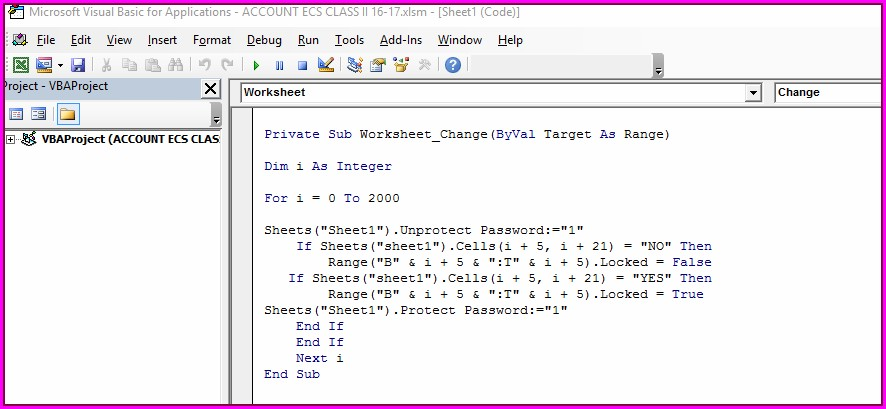 Vba Protect Sheet If Not Protected