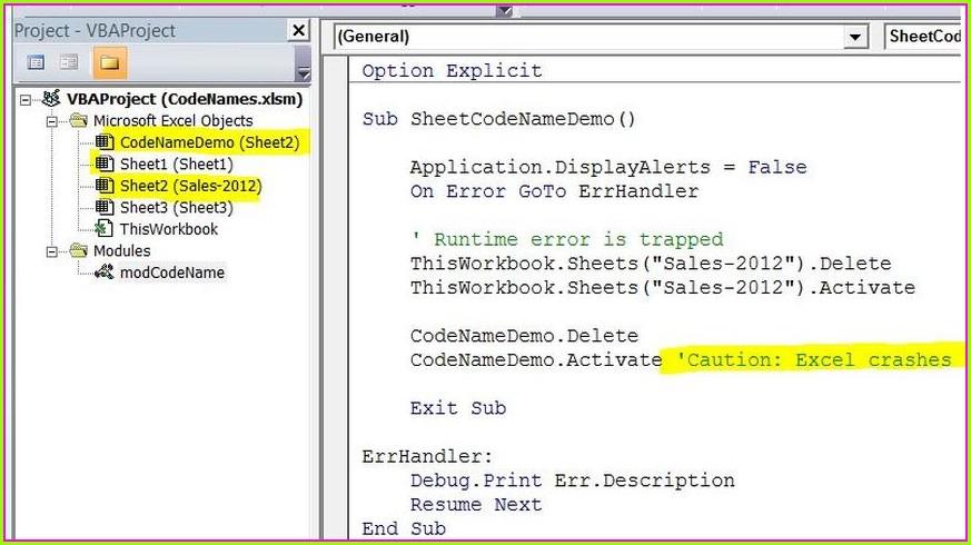 Vba Reference Worksheet By Codename