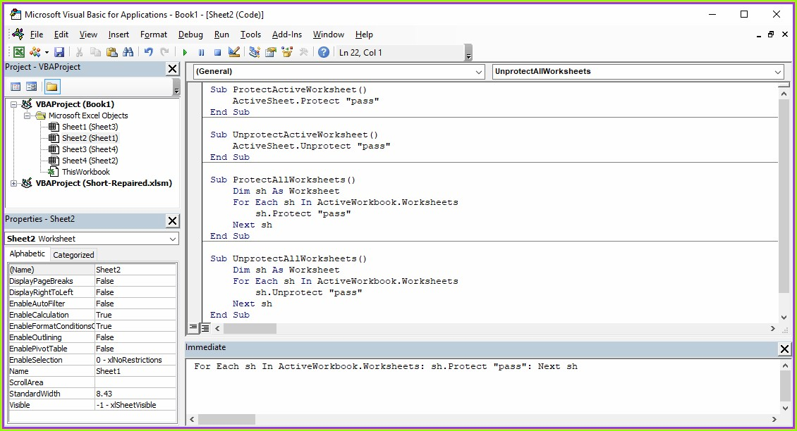 Vba To Protect Worksheet With Password