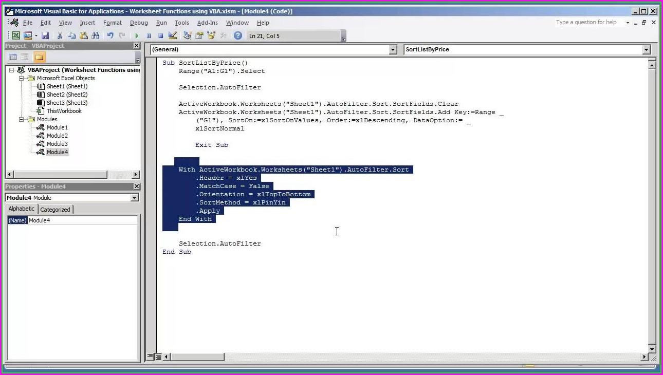 Vba Worksheet Function Sort