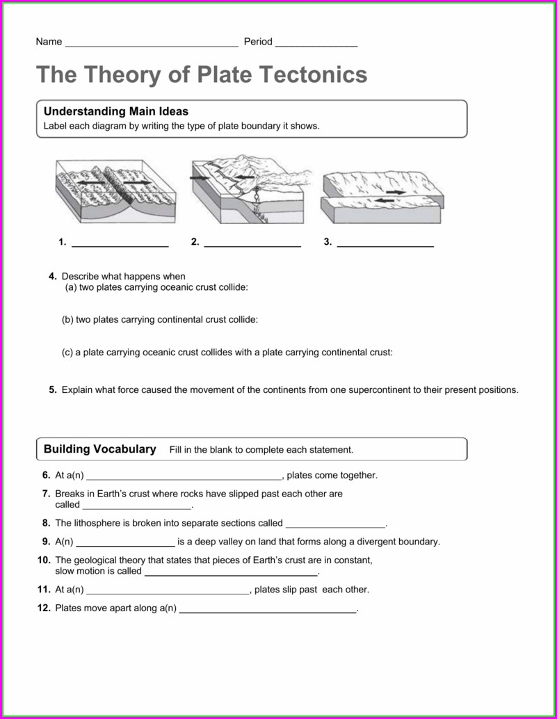 Vocabulary Of Plate Tectonics Worksheet Answers