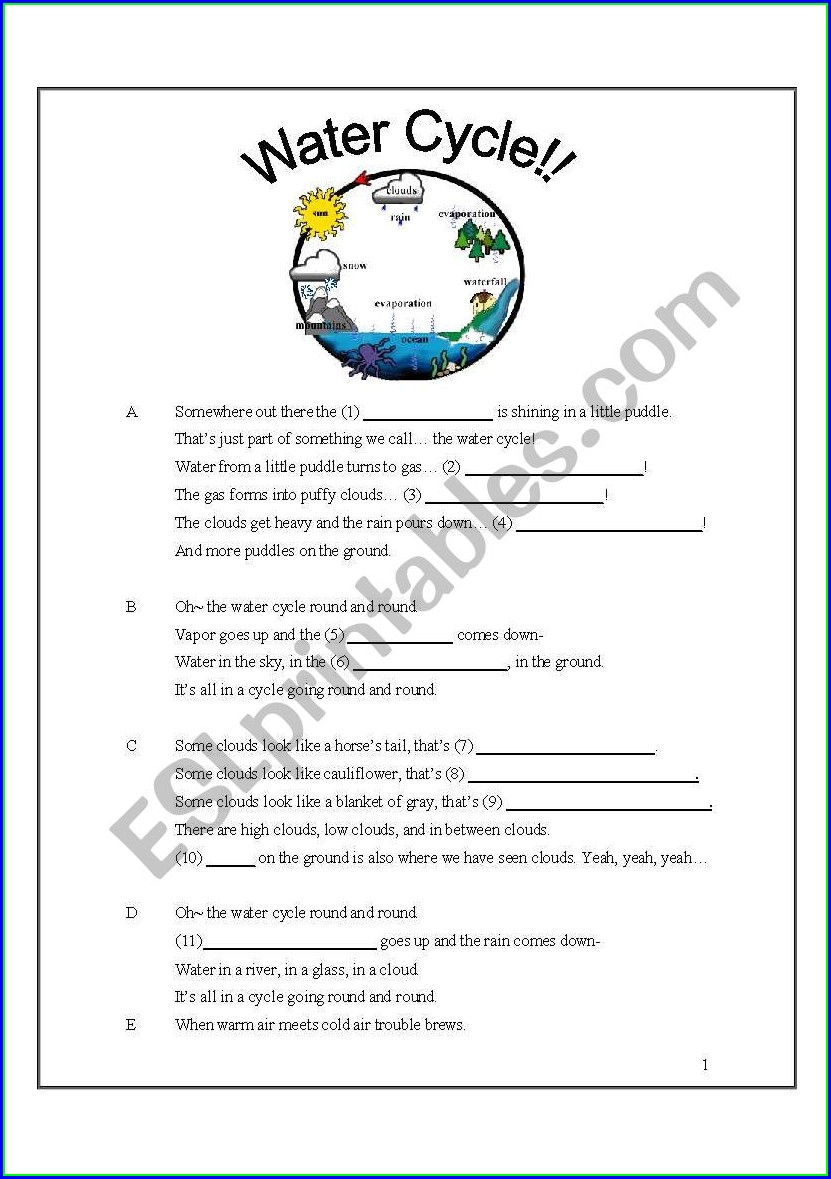 Water Cycle Vocabulary Worksheet Pdf