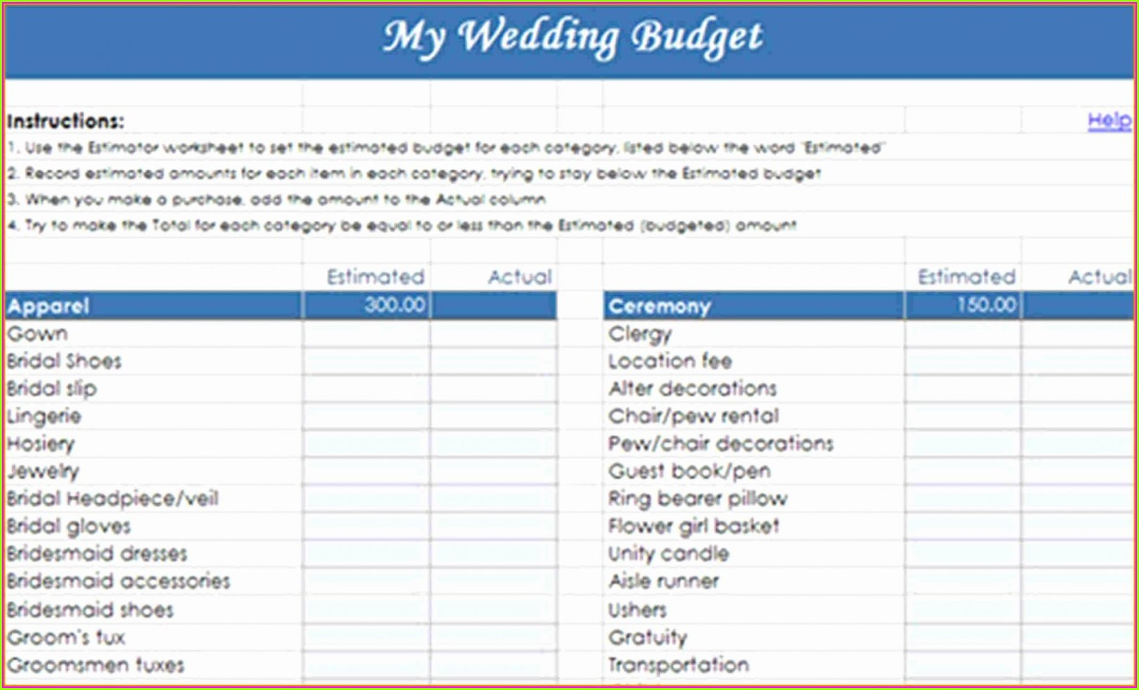 Wedding Budget Worksheet Xls