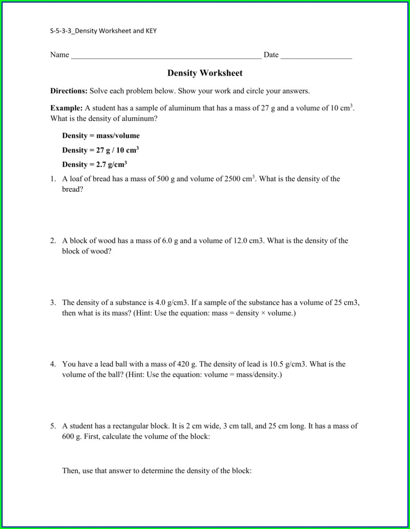 What Is Density Worksheet Answers