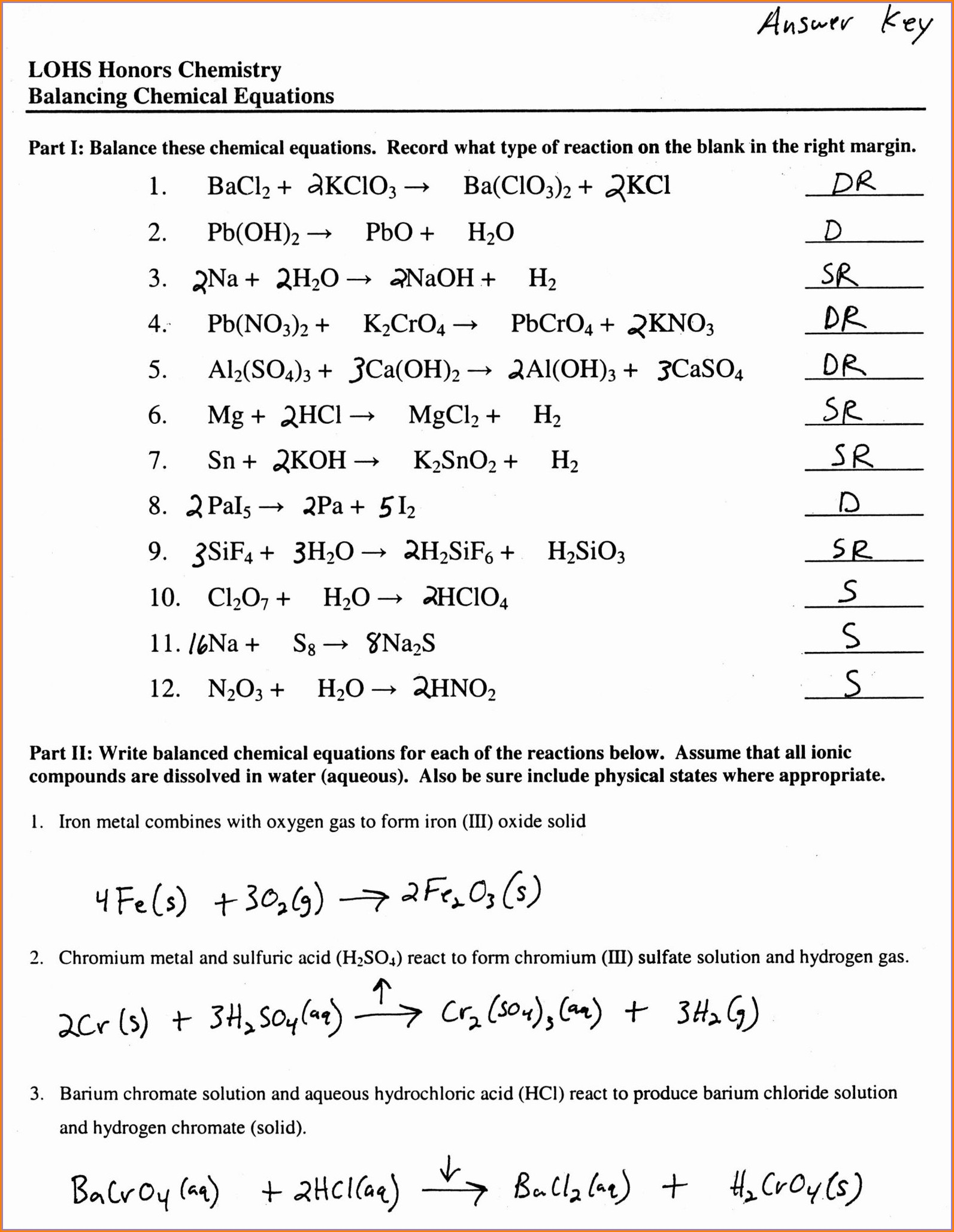 Word Equations Worksheet Chemistry If8767