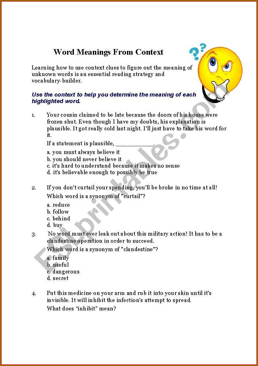 Word Meaning In Context Worksheet