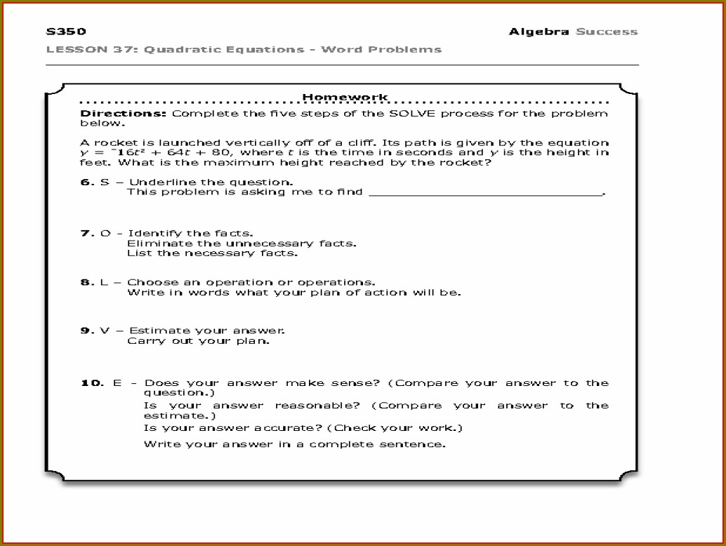 Word Problems For Quadratic Equations Worksheet