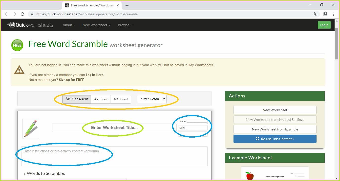 Word Scramble Worksheet Generator