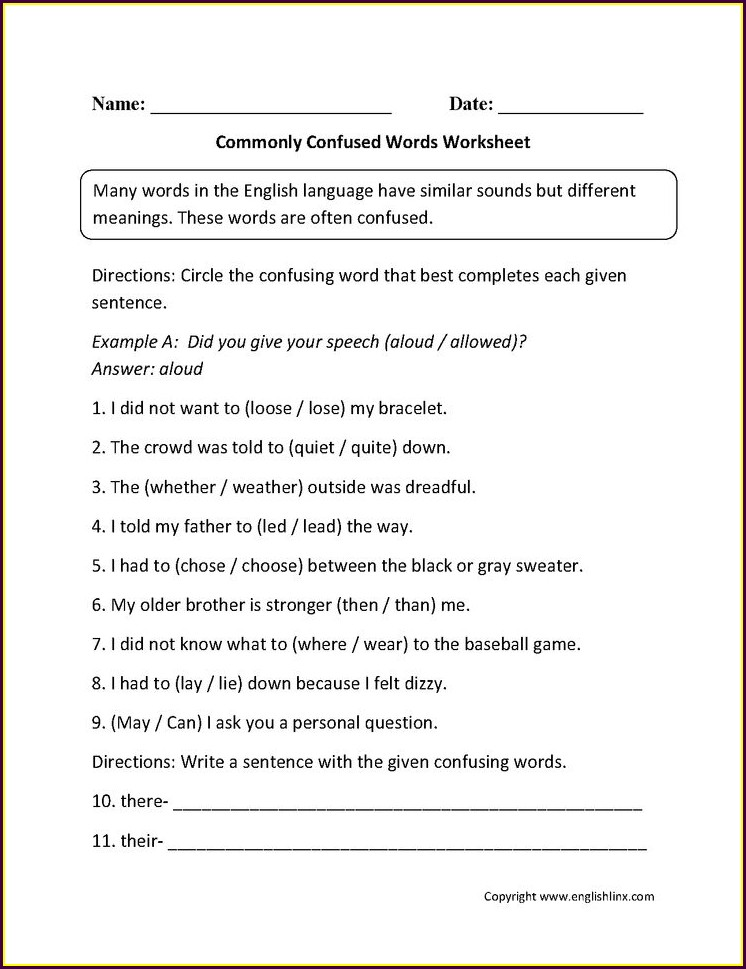 Words Commonly Confused Worksheet Answer Key Part 1