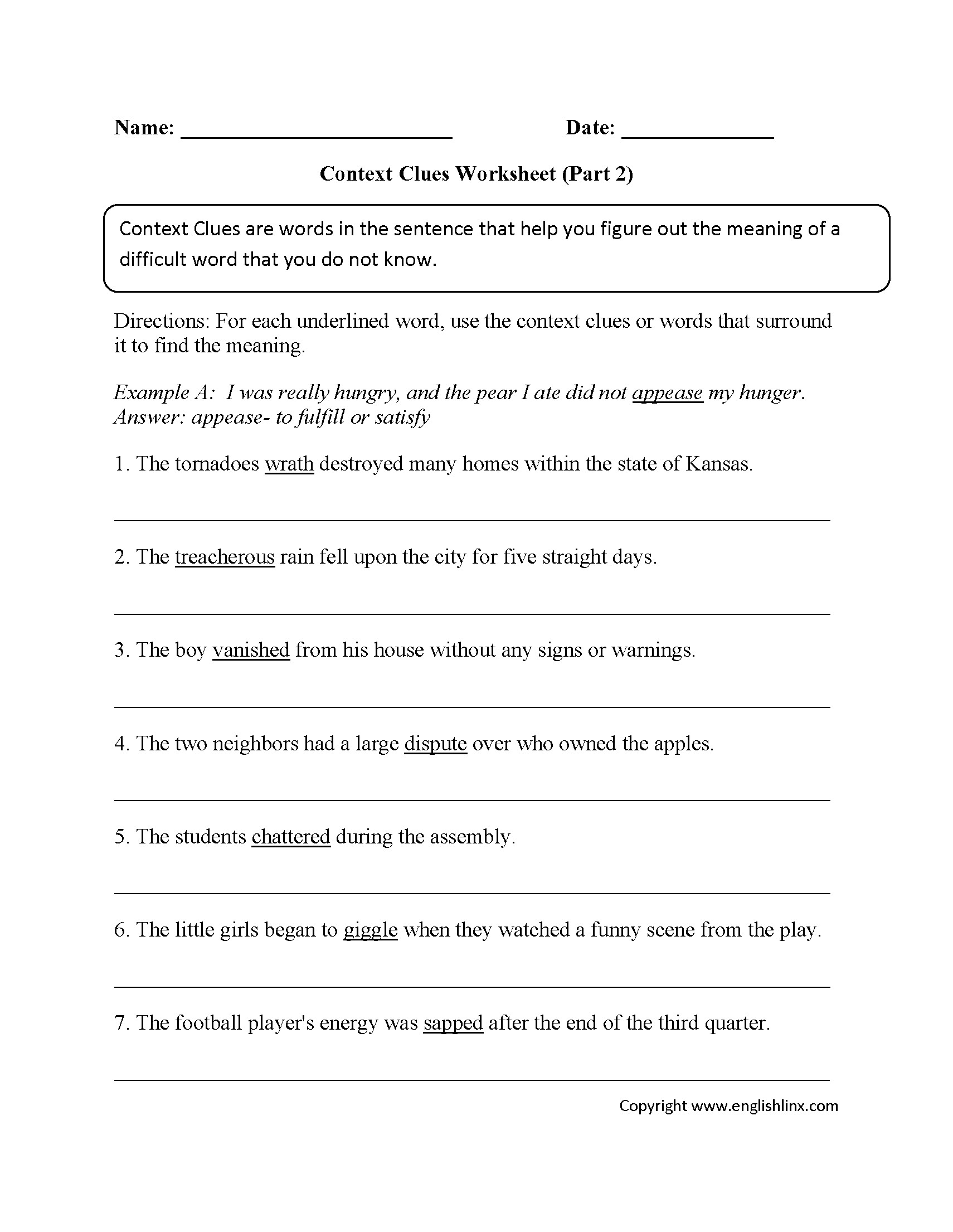 Words In Context Worksheet Pdf