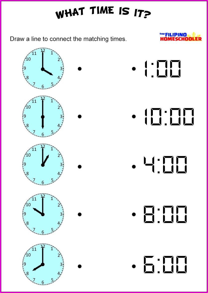 Worksheet About Time For Kindergarten
