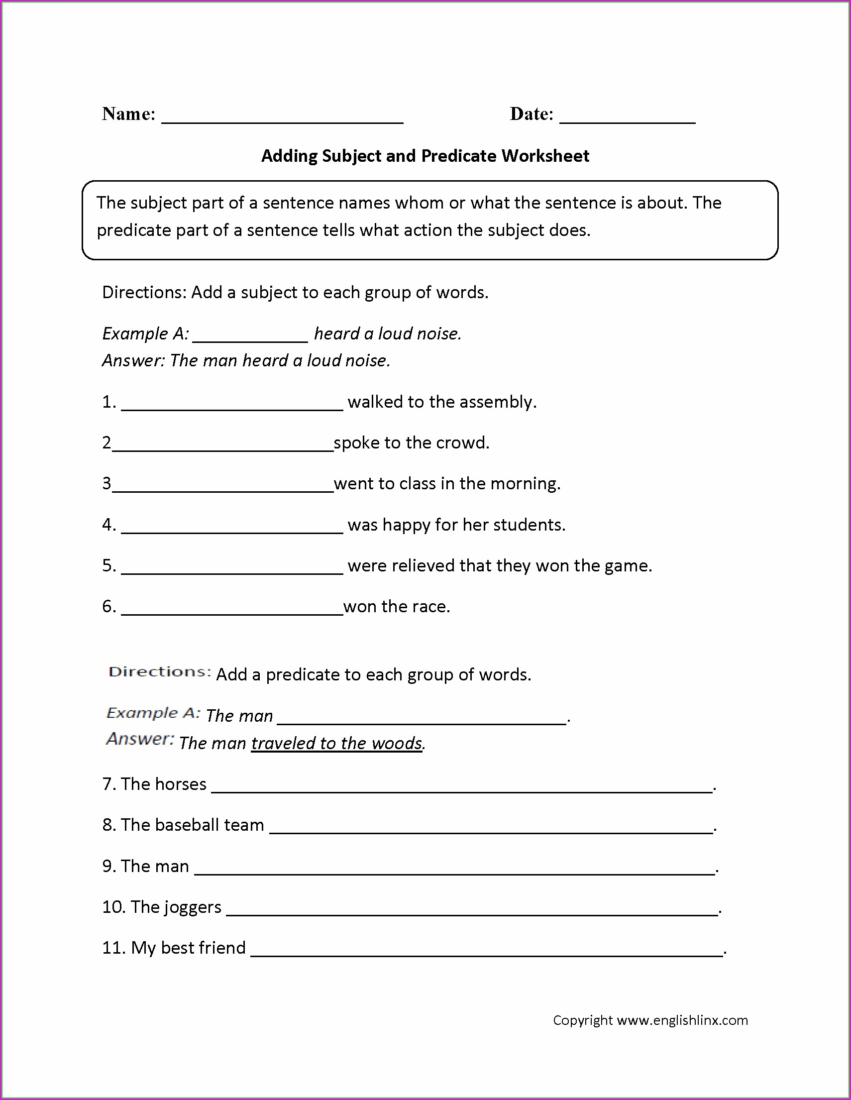 Worksheet English Grade 4