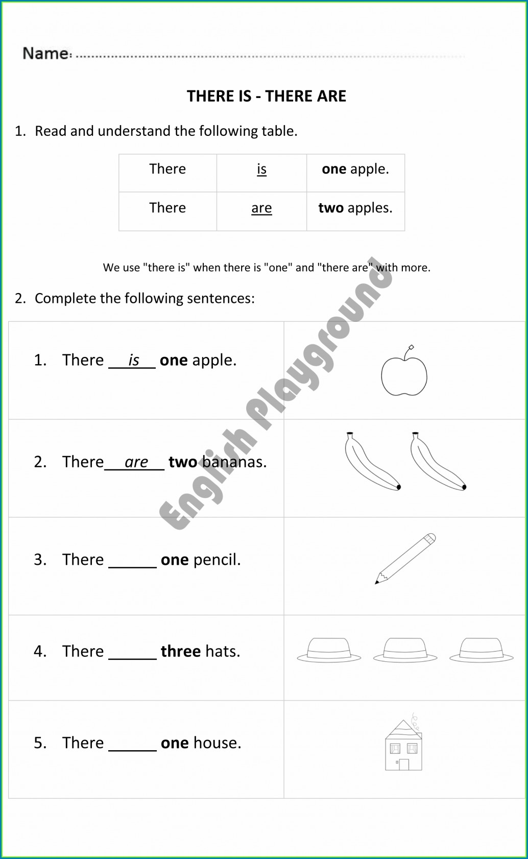 Worksheet English There Is There Are